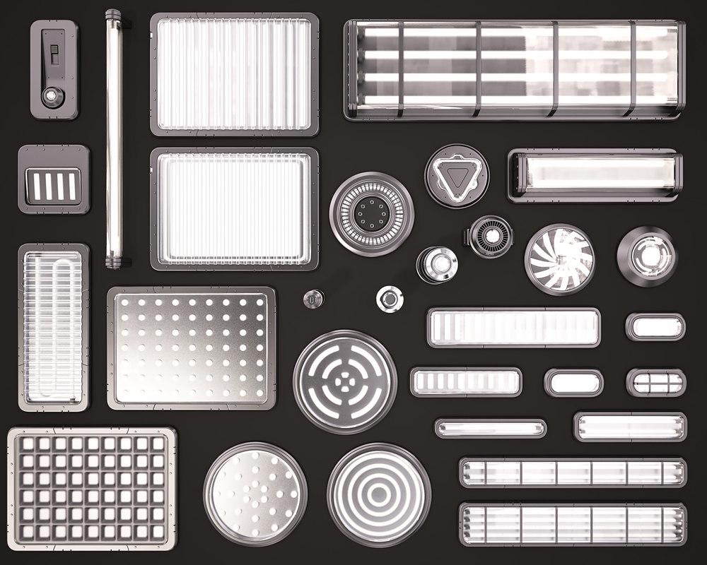 sci fi light kitbash 3D model
