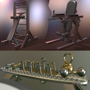 set gym objects 3D model