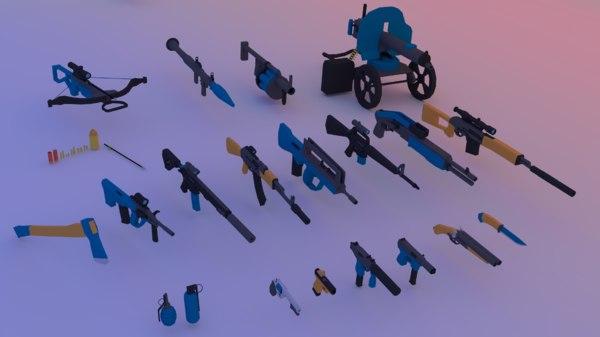 pack guns - ak-47 3D model