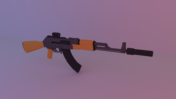 3D ak 47 low-poly vr model