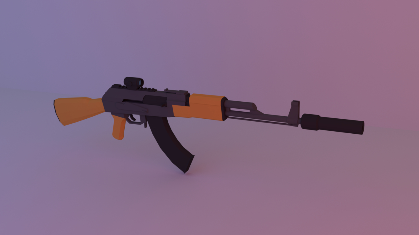 3D ak 47 low-poly vr model