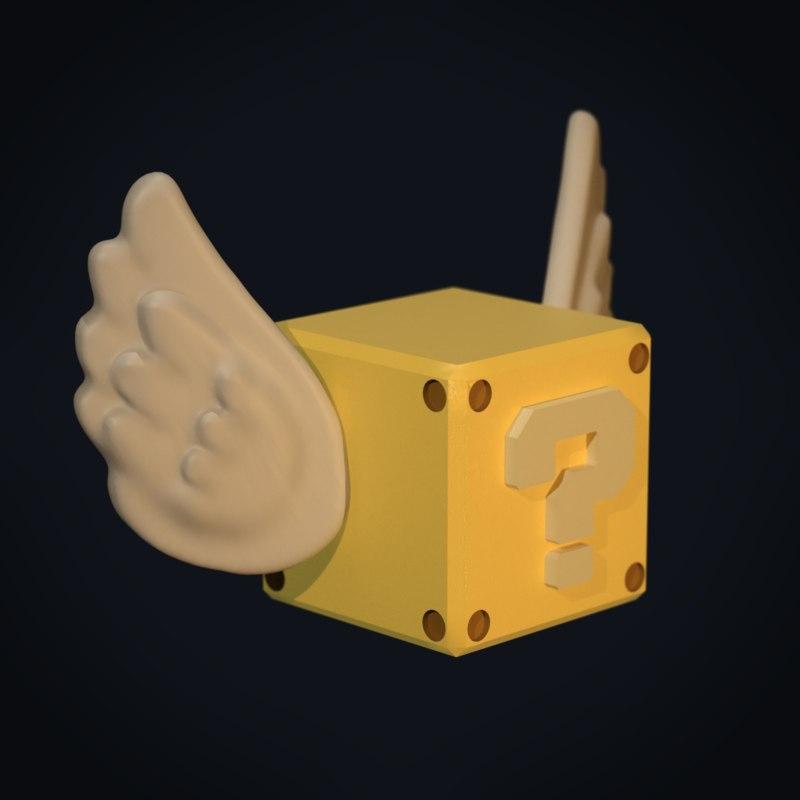 flying question block mario 3D model