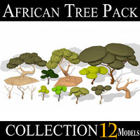 3D model african tree pack