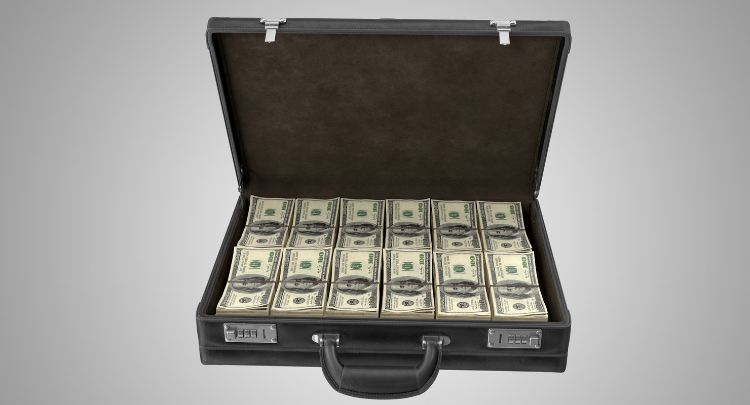 rigged briefcase money 3D model