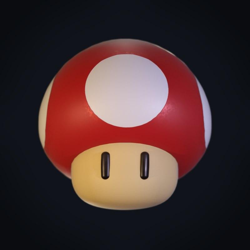 3D red mario mushroom super model