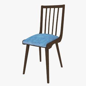 3D wooden velvet chair