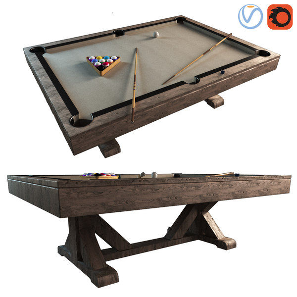 3D pottery barn charleston pool table model