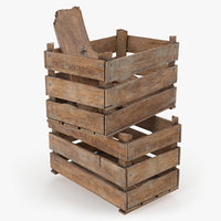 3D vintage wooden box crates