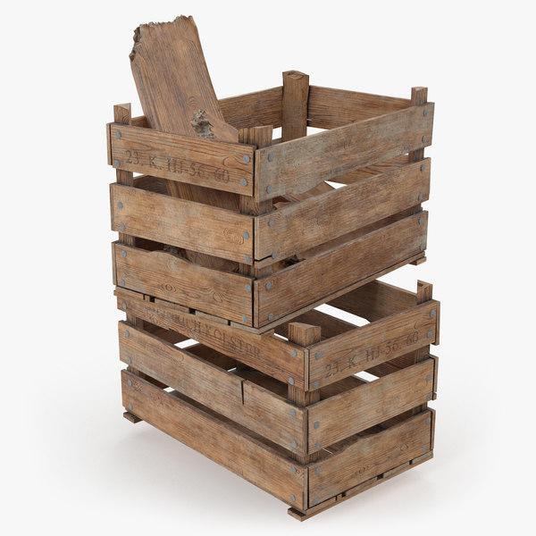 3D vintage wooden box crates
