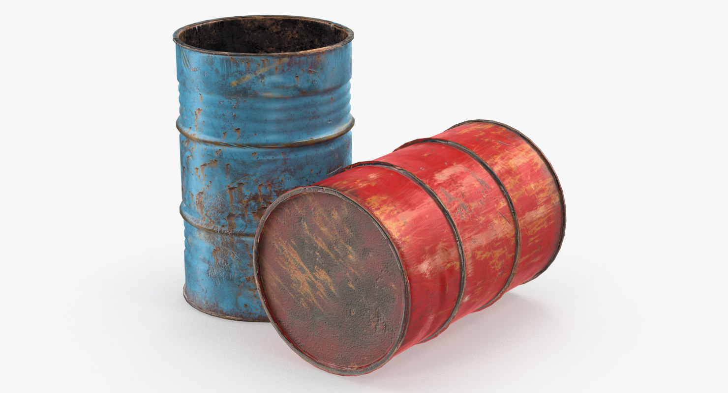 3D rusty waste oil drums