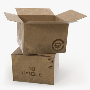 open old cardboard boxes 3D model