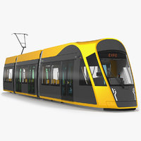 city tram generic rigged 3D model