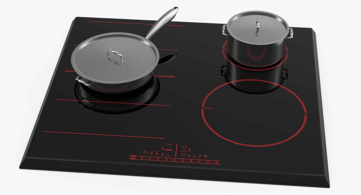 3D model black induction hob generic