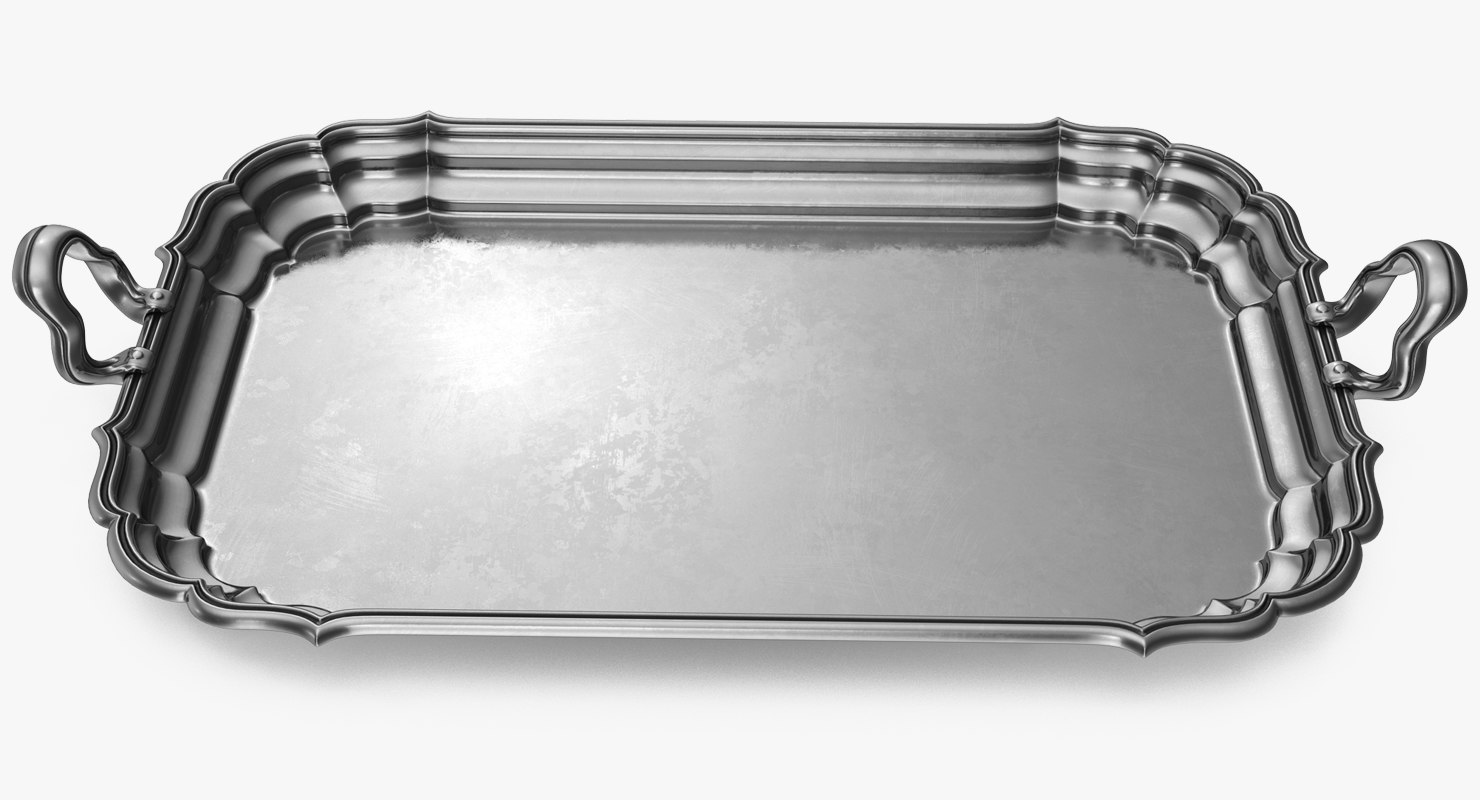 3D antique serving silver tray