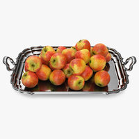 Silver Tray with Apples 3D Model