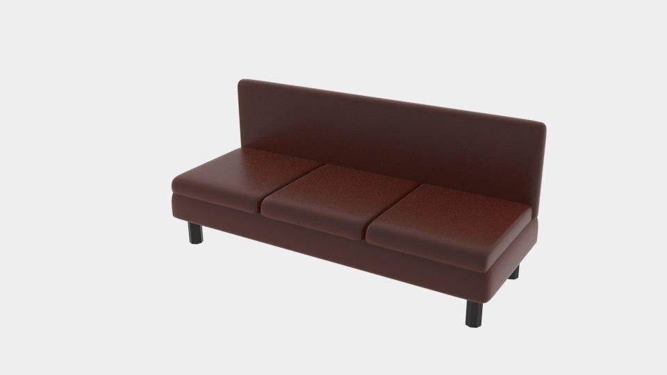 3D brown sofa
