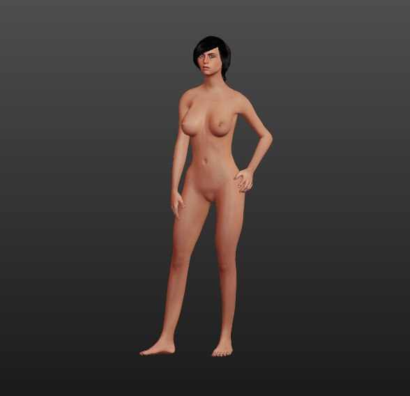 3D nake female character model