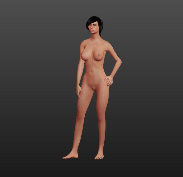 3D nake female character model