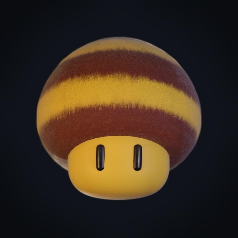 3D model bee mario mushroom power