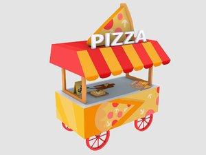 3D stylized pizza cart
