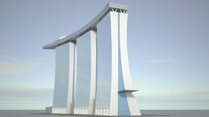 realistic marina bay sands 3D model