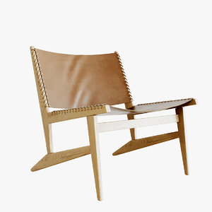 realistic leather lounge chair 3D model
