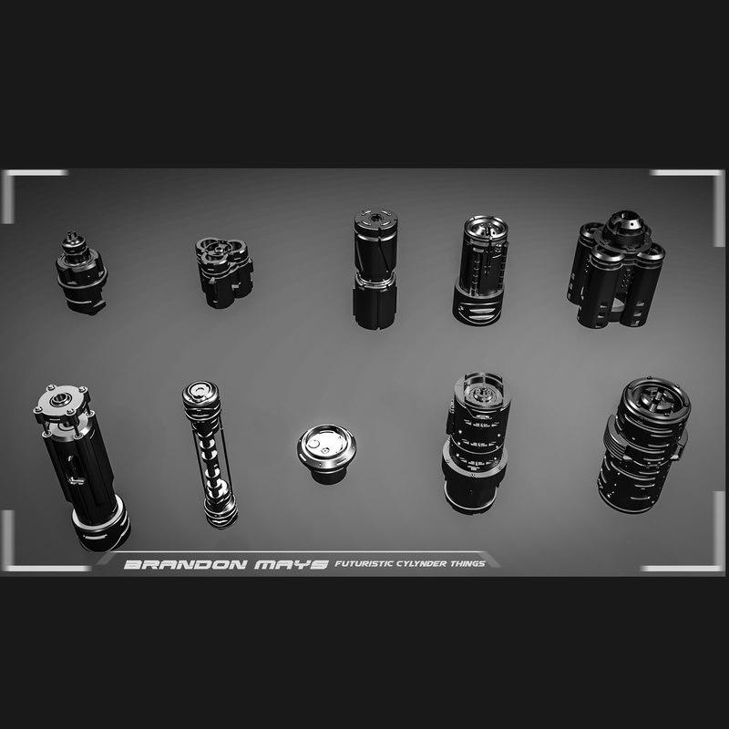 sci-fi cylinders cad kitbashing model