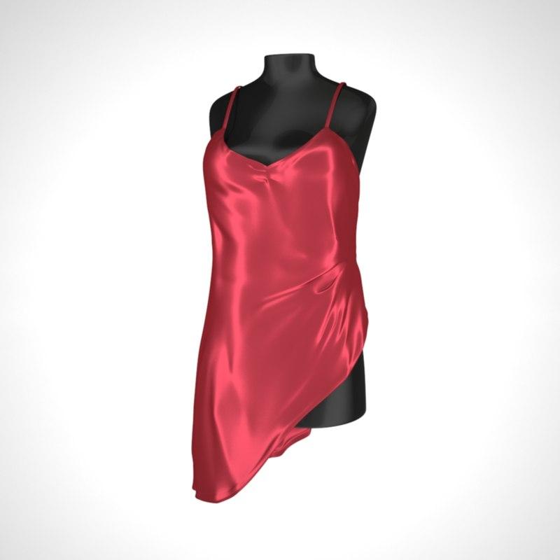3D model red dress