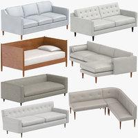 3D model mid-century modern sofas