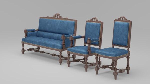 3D carved furniture set 02 model
