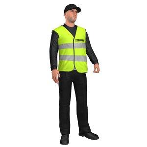 3D rigged steward