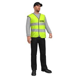 rigged steward 3D model