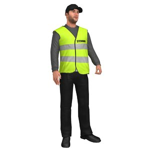 3D model rigged steward