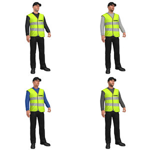 pack rigged steward 3D model