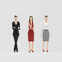 business women low-poly 3D