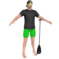 athlete man paddle 3D model