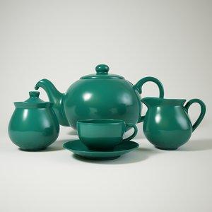 3D model green ceramic tea set