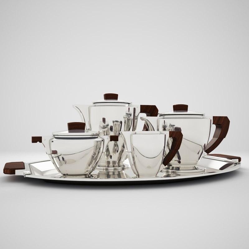 silver plated tea set model