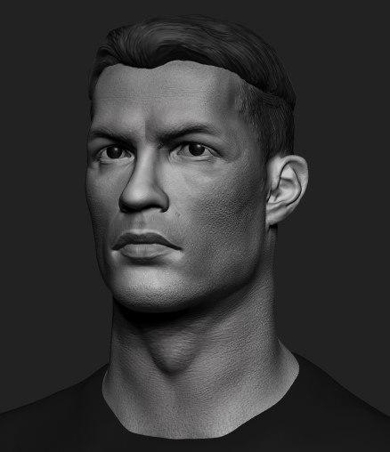 3D bust statue cristiano ronaldo