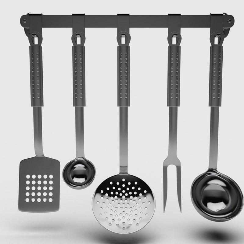 stainless steel utensil set 3D model