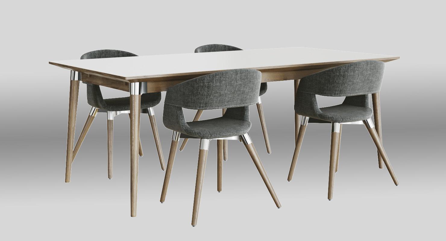 realistic dining set mio 3D model