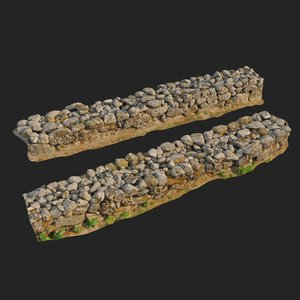 scanned nature stone wall 3D model