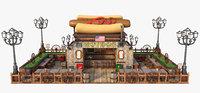 cartoon restaurant toon 3D model