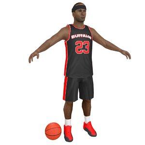 3D basketball player ball