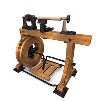engine lathe 3D model