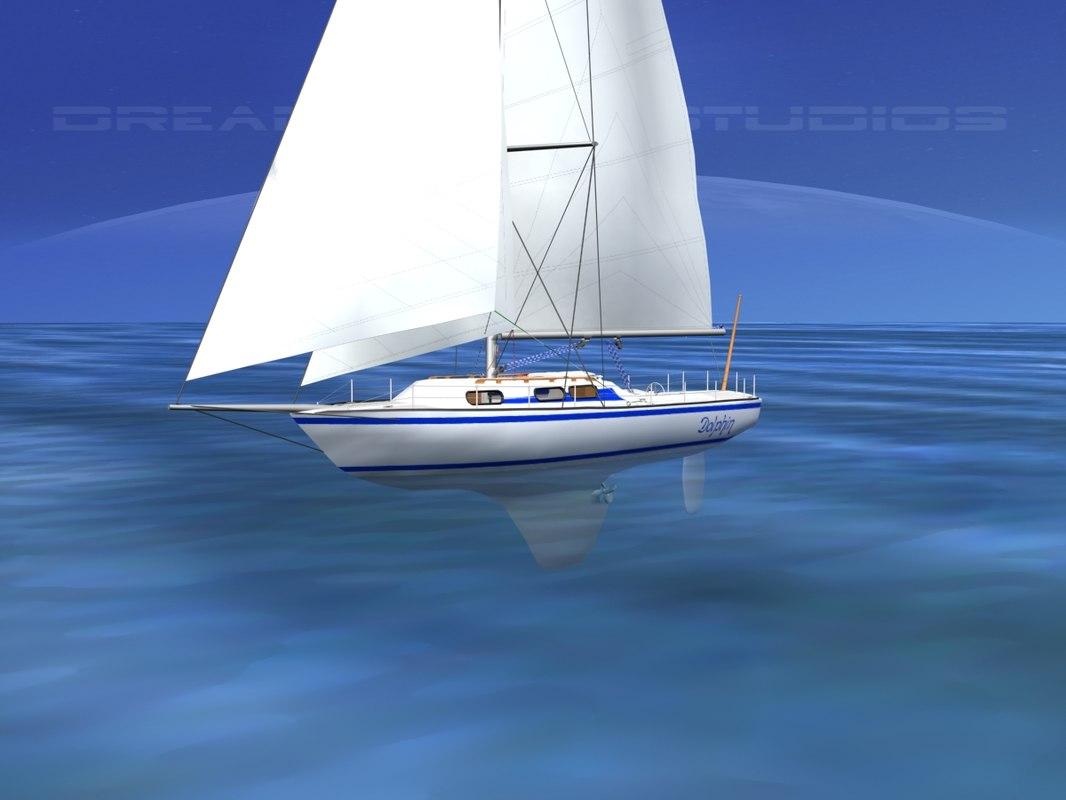 3D cutter rigged sailing sailboats model