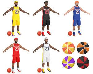 pack basketball player balls 3D model