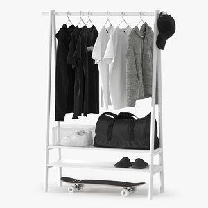 realistic clothes rack 3D model