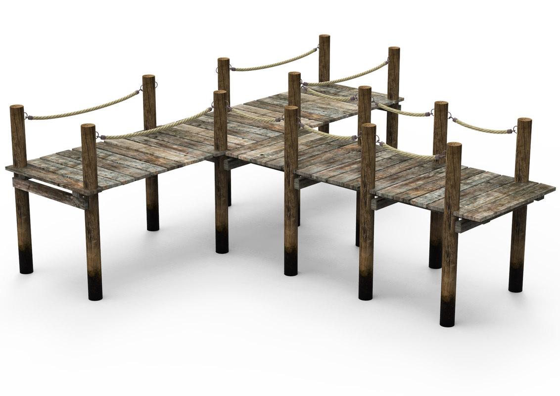 3D old wooden pier model