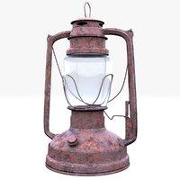 3D old oil lamp model